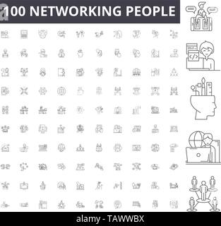 Networking people line icons, signs, vector set, outline illustration concept  - Stock Image
