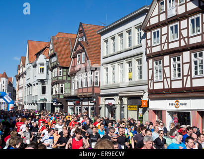 Hundreds of runners start a race, Wasalauf, Celle, Lower Saxony, Germany - Stock Image