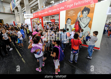 Turin, Piedmont, Italy, 10th May, 2018. International Book fair 2018,first day. Young students visiting the book fair Credit: RENATO VALTERZA/Alamy Live News - Stock Image