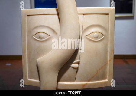 close up details of a Rose Marble Sculpture by Julio Silva at the Ralli Museum in Caesarea, Israel. - Stock Image