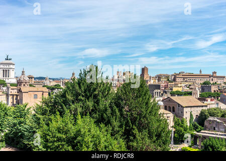 Rome, Italy - 24 June 2018: The cityscape skyline of Rome viewed from Palatine hill,Roman Forum, Tomb of unknown soldier - Stock Image