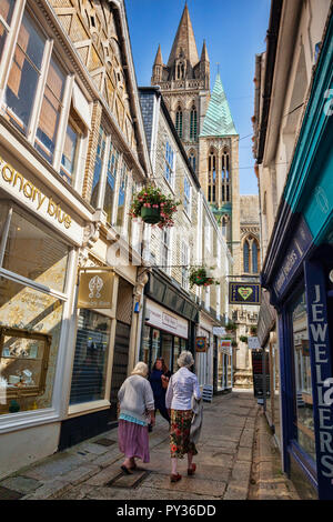 12 June 2018: Truro, Cornwall, UK - Cathedral Lane, with its view to the cathedral. - Stock Image