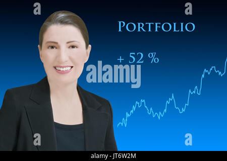 Female robo-advisor, friendly smiling artificial woman in front of blue backdrop with an upward rising chart, showing profitable asset management - Stock Image