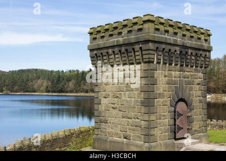 Castellated tower on the dam embankment at Turton and Entwistle reservoir, Lancashire. The reservoir dates from - Stock Image
