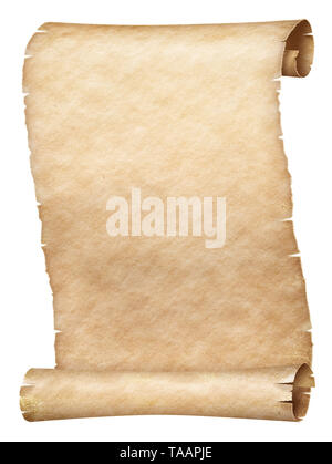 Ancient parchment scroll isolated on white - Stock Image