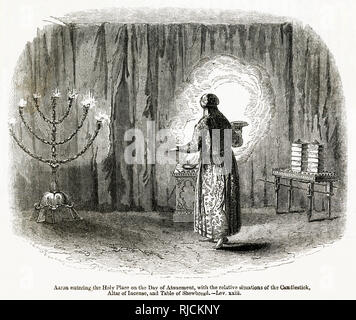 Aaron is a prophet, high priest, and the brother of Moses. He is depicted in this engraving entering the Holy Place on the Day of Atonement. The day of Atonement also known as Yom Kippur is the holiest day of the year in Judaism. It centers around atonement and repentance and involves a 25 hour fasting period and intensive prayer. The engraving depicts him with a candlestick, altar of incense and the table of shewbread. - Stock Image