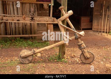 hand made wooden bicycle, Bwindi, Uganda, Africa - Stock Image