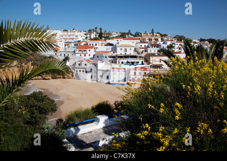 Portugal, Algarve, Carvoeiro, View of Town - Stock Image