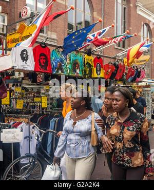 Albert Cyp market, Souvenirs, T Shirts, Amsterdam - Stock Image