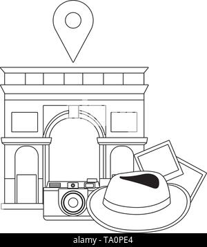 Arch of Triumph landmark design, Travel trip vacation tourism journey and tourist theme Vector illustration - Stock Image