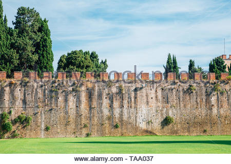 Ancient Walls, Leaning Tower in Pisa, Italy - Stock Image