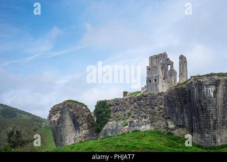 Corfe Castle, Dorset, England, UK - Stock Image