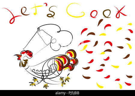 Chef rooster.  Excited chef rooster running for cooking. - Stock Image