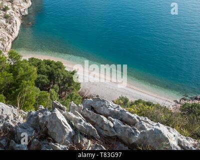 Famous hidden pebble beach Nugal aerial view - Stock Image