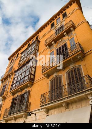 House facades Palma de Mallorca on Mallorca Balearic Islands Spain - Stock Image