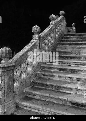 Stone staircase at night - Stock Image
