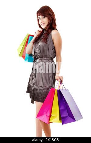 Stock image of happy female shopper isolated on white background - Stock Image