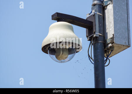 White dome security camera at pole . Focus selective - Stock Image