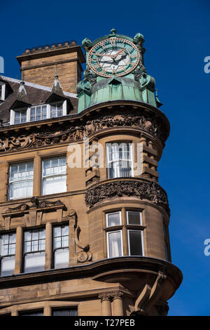 Newcastle-upon-Tyne, NE England city. Ornate architecture and clock of Emerson Chambers. - Stock Image