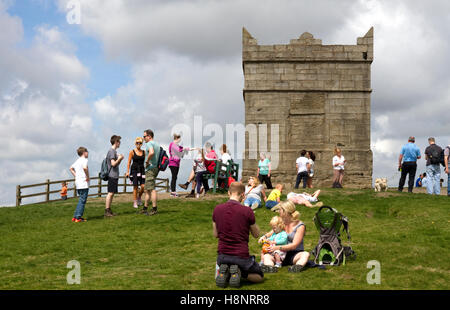 Summit of Rivington Pike and Tower , Winter Hill, West Pennine Moors, Lancashire, England, UK - Stock Image