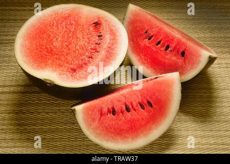 Watermelon, Citrullus vulgaris (Cucumis citrullus) a small round cultivar originally from North Africa. - Stock Image