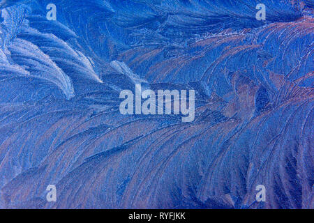Abstract pattern of frost on blue - Stock Image