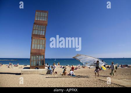 Spain Barcelona Sculpture by Rebecca Horn at Barceloneta beach Surfer - Stock Image