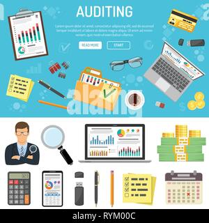 Auditing and Business Accounting Infographics - Stock Image