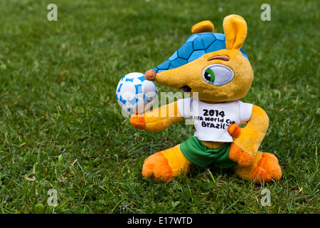 'Fuleco the Armadillo' Mascot on grass for Brazil World Cup 2014. - Stock Image