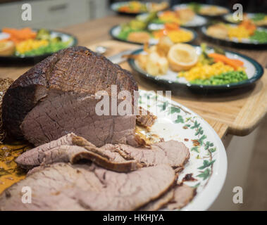 Roast beef served for Sunday lunch - Stock Image