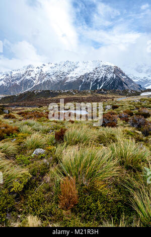 Mountain landscape – Hooker Valley - Stock Image