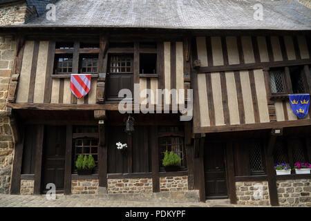Medieval buildings in Rue du Coignet, Dinan, Cotes d'Amor, Brittany, France - Stock Image