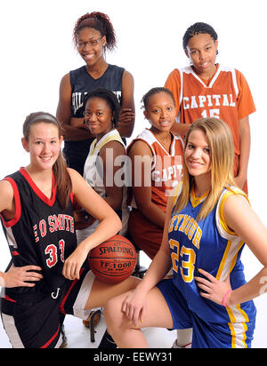 New Haven CT USA-- Girls basketball preview standouts. From front left, clockwise; Morgan Olander (E.O. Smith), - Stock Image