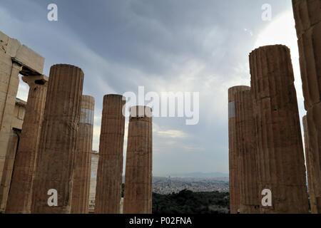 Dark sky, Athens - Stock Image