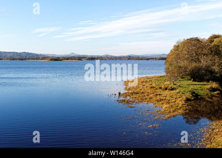 Artificial reservoir on River Lee near the town of Macroom in County Cork,Ireland. - Stock Image