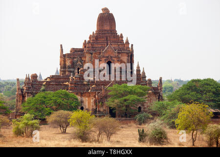 View of a temple, Old Bagan village area, Mandalay region, Myanmar, Asia - Stock Image
