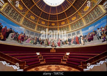 France, Paris, Saint Germain des Pres district, Ecole nationale superieure des Beaux-Arts (Fine Arts school), the Amphitheater of honor, the wall painting by Paul Delaroche - Stock Image