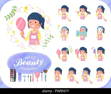 A set of Childminder women on beauty.There are various actions such as skin care and makeup.It's vector art so it's easy to edit. - Stock Image