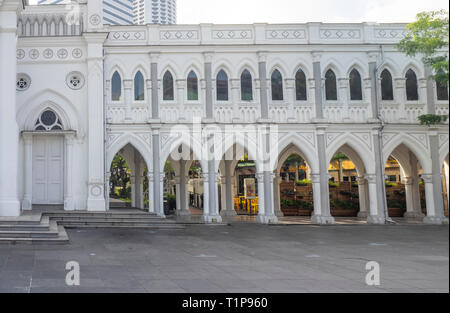 Pointed arch arcade CHIJMES Convent of the Holy Infant Jesus Chapel converted into social hall function event centre Singapore. - Stock Image