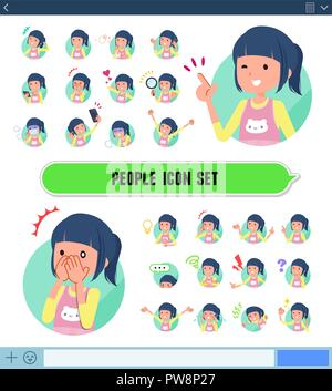 A set of Childminder women with expresses various emotions on the SNS screen.There are variations of emotions such as joy and sadness.It's vector art  - Stock Image