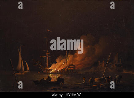Charles Brooking   Ship on fire at night   Google Art Project - Stock Image