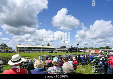 Ardingly Sussex UK 6th June 2019 - Crowds enjoy the sunshine on the first day of the South of England Show held at the Ardingly Showground in Sussex. The annual agricultural show highlights the best in British farming and produce and attracts thousands of visitors over three days . Credit : Simon Dack / Alamy Live News - Stock Image