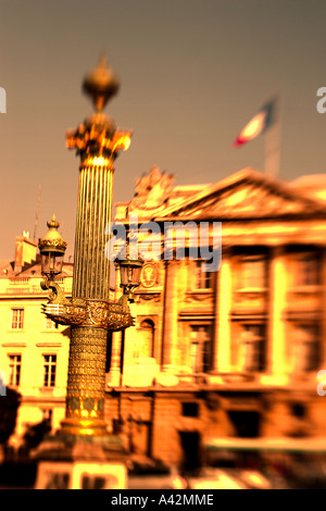 Paris France Place de la Concorde Hotel de Crillon five star blurred - Stock Image