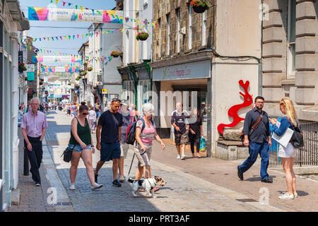 12 June 2018: Falmouth, Cornwall, UK - Church Street, Falmouth's main shopping street. - Stock Image
