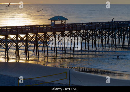 Silhouetted pier with soccer net in the foreground on Folly Beach, South Carolina at sunrise as sea birds wheel around the sky - Stock Image