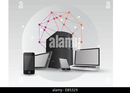 Media devices with server tower and angular design - Stock Image