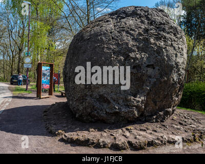 Largest lava bomb exhibited in village Strohn, near Daun, volcanic region, Eifel, Germany - Stock Image