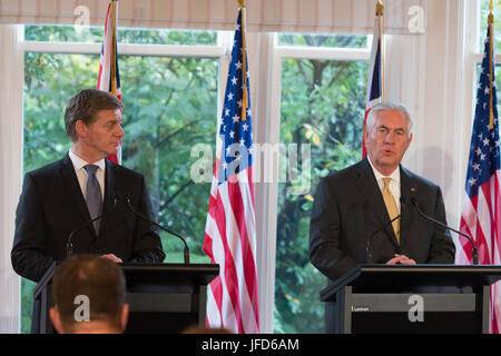 U.S. Secretary of State Rex Tillerson delivers remarks during a press conference with New Zealander Prime Minister - Stock Image