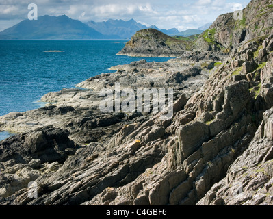 The Cuillin mountains viewed from the Point of Sleat on the Isle of Skye on a sunny day. - Stock Image