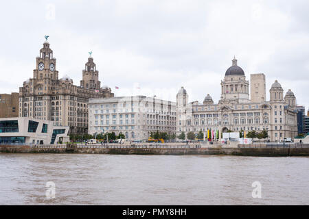 Liverpool  Merseyside The Three Graces Royal Liver Cunard Port Authority Mersey Ferry Pier Head Building Buildings River Mersey embankment - Stock Image